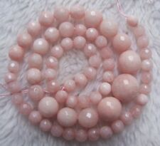 """6-14mm Pink Jade Graduated Faceted Round Loose Beads 18"""""""
