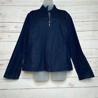 Eileen Fisher Dark Denim Jean Zip Up Jacket Size L