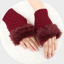 Womens Girls Fingerless Knit Faux Fox Fur Gloves Wrist Hand Warmer Wool Mittens