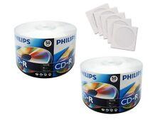 100 PHILIPS Brand LOGO Blank CD-R CDR Disc Media 52X 700MB + 100 Paper Sleeves