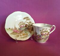 Taylor & Kent Tea Cup And Saucer - Cottage Scene In Green Pink Yellow - England