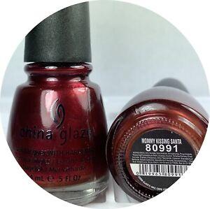 China Glaze Nail Polish Mommy Kissing Santa 880 Deep Garnet Red Shimmer Lacquer