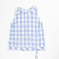 J. Crew Cotton Linen Blue White Gingham Check Print Tie Front Sleeveless Blouse