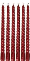 Red Dinner Candles Gloss Red Spiral Taper Dinner Candles Pack Of 6