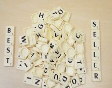 100 IVORY PLASTIC SCRABBLE TILES BLACK LETTERS NUMBERS FOR CRAFTS IVORY UK SELL