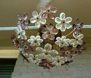 Vintage French 1960 Daisy Flower Glass pendant lamp  maison bagues flush mount