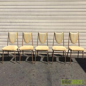 [Set of 5] Vintage Beige Tan Dining Room Chairs Furniture