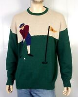 vtg 80s 90s Northern Isles Huge Graphic Knit Golf Sweater Crew sz XL
