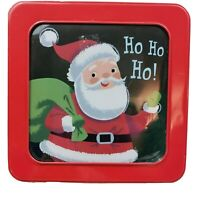 "Christmas Holiday Metal Tin Santa Claus 7""L x 7""W x 2.5""H Red with Plastic Top"