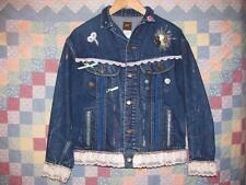 Women's Lee Riders Denim Jacket Size L 100% Cotton Rivet Button Lace Trim