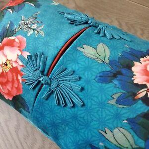 Rare World Market Japanese Kimono Lumbar Pillow Cover + Insert Blue Throw Pillow