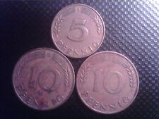 GERMANY    5  PFENNIG  1949    J   10 PFENNIG    1949   J    1978    D    OCT17