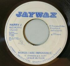 Leslie Butler: Words (Are Impossible) / Roots Dub 45 Jaywax 1974 Reggae VG+
