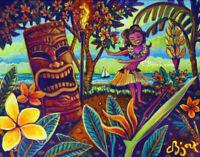 Original Painting Paradise Island Hula Girl Tiki Bar Hawaiian CBjork Art