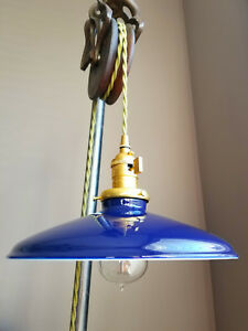 "Blue Porcelain Enamel Shade: 10"" Rounded Metal, 2-1/4"" fitter, Industrial Lights"