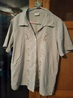 Ladies Erika Button-front Brown Checkered Size Large Short Sleeve Blouse