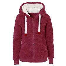 Winter Ladies Women's Soft Teddy Sherpa Fleece Hooded Jumper Hoody Jacket Coat