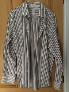 "REMUS UOMO FORMAL STRIPED SHIRT TAPERED FIT  NECK SIZE 16.5"" LARGE"
