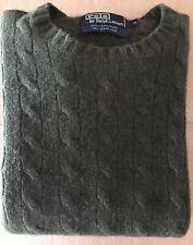 POLO Ralph Lauren MEN'S CABLE KNIT Crew Neck SWEATER Medium Olive 100% Cashmere