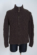 COLONIAL CARDIGAN FAUXFUR INSIDE JACKET WOOL BLEND WARM CABLEKNIT BROWN S SMALL