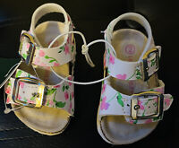 Laura Ashley Infant Girl White & Pink Floral Ankle Sandals. Size 2