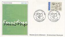 FIRST DAY COVER / PREMIER JOUR FRANCE 1991 / CELEBRITE / FRANCIS PONGE