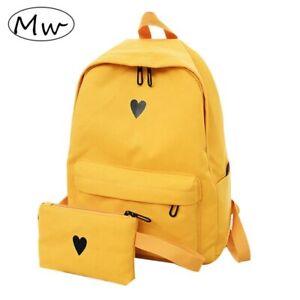 Lune bois haute qualité toile imprimé coeur jaune sac à dos Style coréen