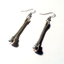 1 pair 58MM Beadable European Dangle Earrings Snake Chain Silver Earbob C0634