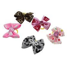 5Pcs/Lot Handmade Designer Pet Dog Accessories Grooming Hair Bows Rubber Bands