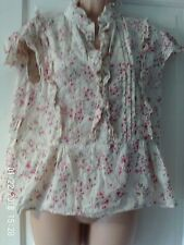 CREAM AND PINK  SLEEVELESS BLOUSE, SIZE 14