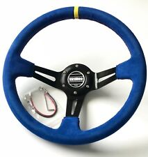 340mm Blue Suede Leather Deep Dish Steering Wheel For OMP Hub Drifting Racing YL