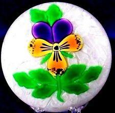 Elegant PERTHSHIRE Pansy FLOWER over LATTICINO Art Glass PAPERWEIGHT in Box  COA