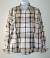 Orvis Designer Look Plaid Blouse Women's 8 Mandarin Collar Flip Cuffs Carefree