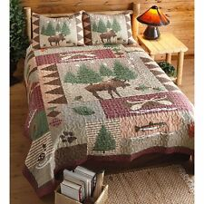 Moose Lake Snow Leaf Pine Tree Fish Rustic Lodge Cabin Woodland Bed Quilt Set