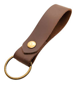 Leather Keyring / Key fob  Brown Distressed Leather Antique Brass fittings