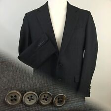 Hickey Freeman Glen Plaid 100% Wool Sport Coat Mens 42 L Gray Blk Blue Brown Red