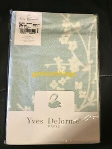 Yves Delorme 2 King Shams Light Green White Floral Polka Dots Reversible Cotton