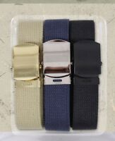 "3 Pack - 100% Cotton Military Web Belts 54"" Long Belts"