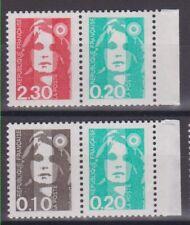"France 1990 : YT P2614 et P2617 : Type ""BRIAT"" du carnet 1502 : neuf** MNH"