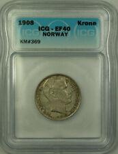 1908 Norway Silver 1 Krone ICG EF-40 KM#369