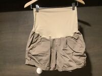 7f1c2c990c446 a-glow WOMENS MATERNITY SHORTS BEIGE SIZE 10 COTTON SPANDEX PULL ON STYLE