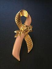 Vintage Avon Breast Cancer Awareness Pink Ribbon Rose 1993 Brooch