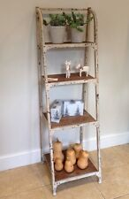 White Bookshelf / Shelving Unit, birch wood & metal, 45cm wide, 4 shelves