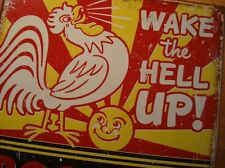 RED ROOSTER BRAND COFFEE - WAKE THE HELL UP Kitchen Restaurant Sign Home Decor