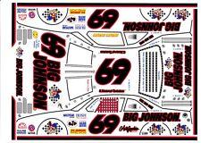 #69 E. Normus Big Johnson Black #s 1/64th  HO Scale Slot Car Waterslide Decals
