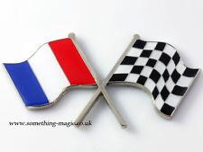 Émail Chrome Drapeau Français & chequered flag Crossing voiture badge Peugeot France