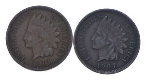 VF/XF 1908 & 1907 Indian Head Cent Collection Lot - STRONG Liberty *677