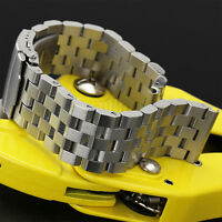20/22/24mm Watch Band Strap Straight End Polish Bracelet Links Solid Watchband