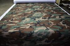"Woodlands Camo Poly Cotton Blend Canvas Duck Fabric 61"" Hunting Military Apparel"