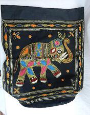 Large Black Cotton Elephant Design Drawstring Duffle Bag / Backpack - BNIB